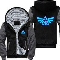 USA Plus EU Size The Legend of Zelda Hoodie Thicken Fleece Coat Game Luminous Mens Zipper Hoodie Game Sweatshirts USA Size
