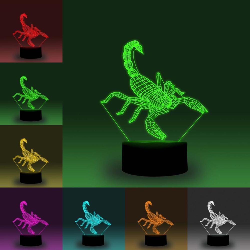 NiteApps 3D Scorpion LED Night Light Desk Table Illusion Lamp Holiday Birthday Gift APP/Touch Control