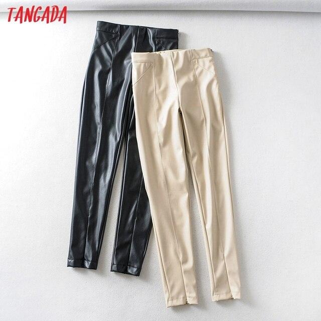 Skinny leather stretch zipper female pencil trousers