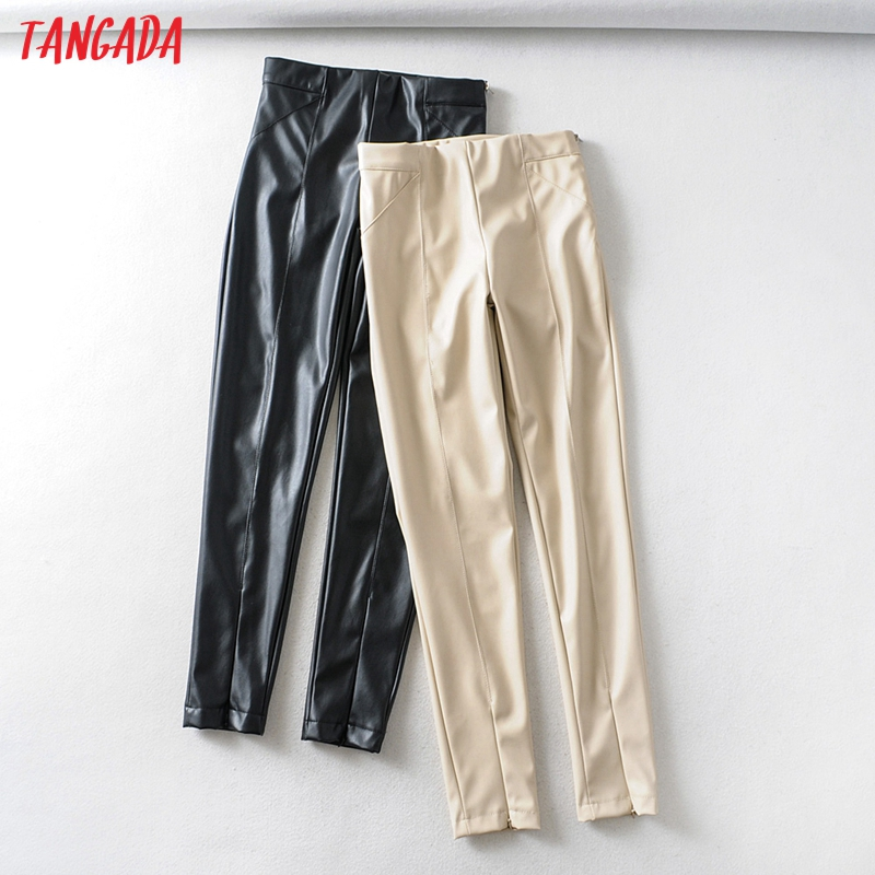 Tangada women white skinny PU leather pants stretch zipper female autumn winter pencil pants trousers 6A04 1
