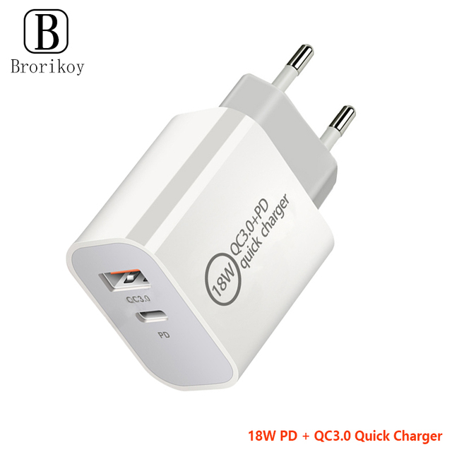 18W PD Fast Charging QC3.0 Quick Charger USB Adapter EU UK US Plug for iPhone 12 11 Pro Max Huawei Samsung USB-C Type-C Cable