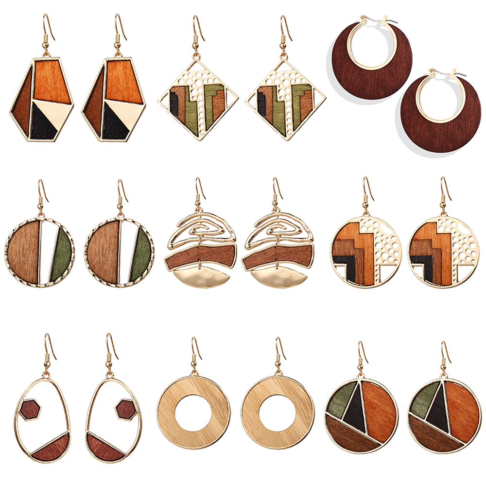 17KM Brincos Vintage Round Wood Drop Earrings For Women Geometric Wood Dangle Earring 2020 Female Square Jewelry