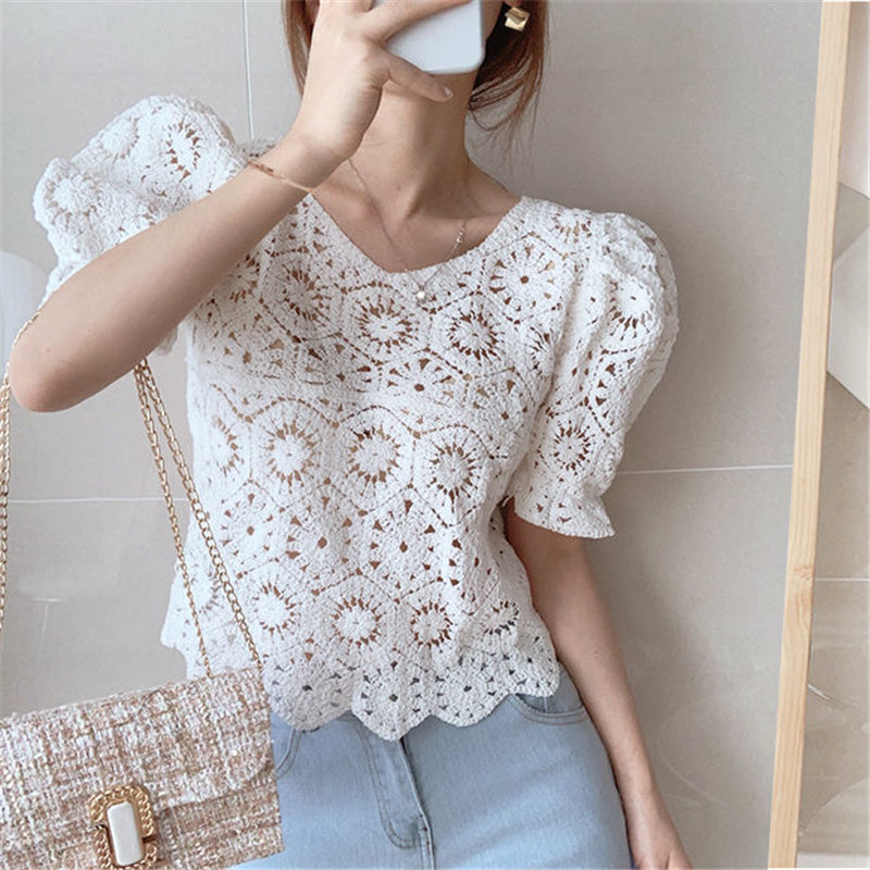Alien Kitty Delicate Short Sleeves Tops Hook Flowers 2020 Summer Sweet Cute Chic Fresh Solid All Match Stylish Lace Shirts