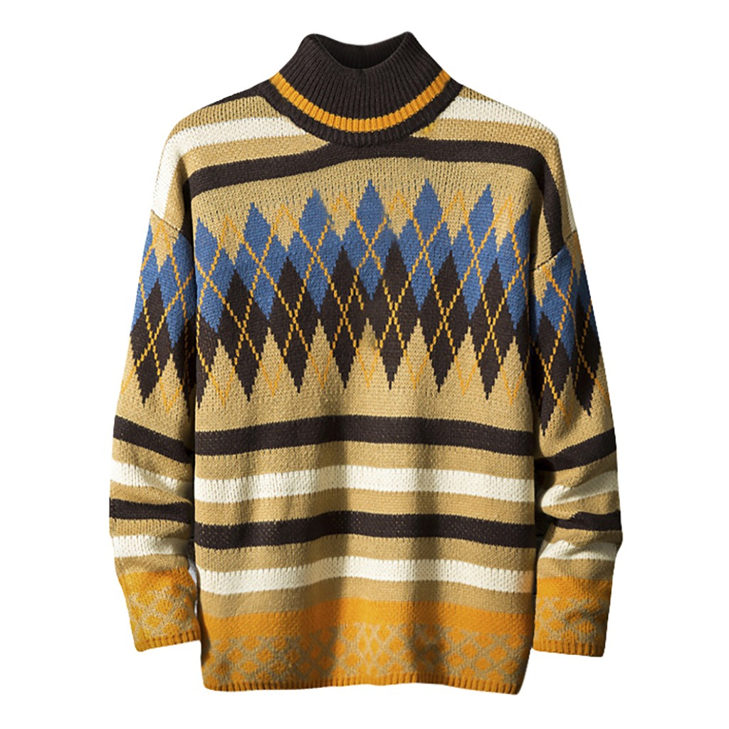 2019 Winter Men's Sweater Pullover Casual Ethnic Style Men Sweaters Slim Fit  Fashion Trend Knitting    1127#3