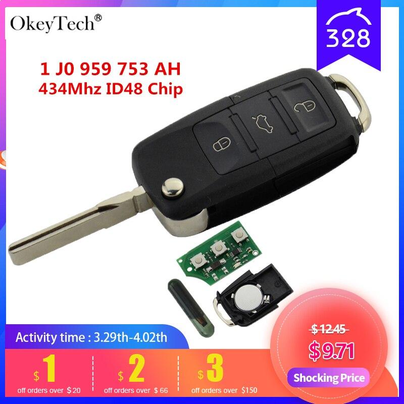 Okeytech 3 кнопки дистанционного ключа флип складной 434 МГц ID48 чипа для VW Golf 4 5 Passat Polo 2000-2006 1 J0 959 753 Ач