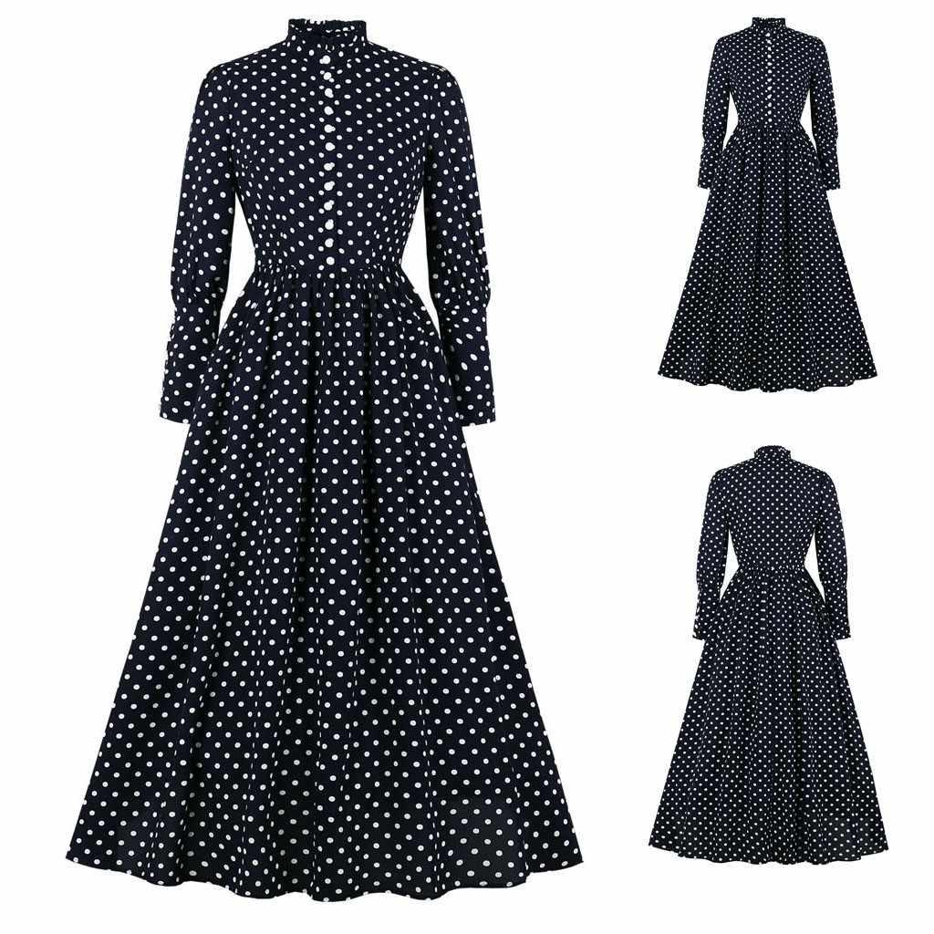 Polka sukienka w kropki moda damska elegancki O-neck pasek krzyżowy krawat wzburzyć długa, maksi sukienki jesienno-zimowa wysoka talia Sundress vestidos