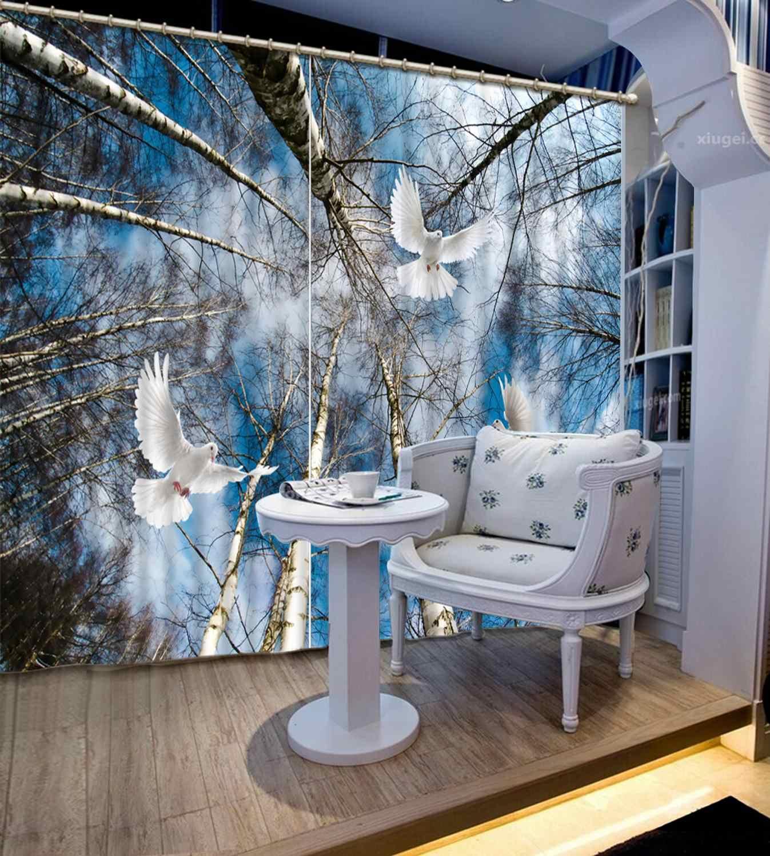 Blackout וילונות 3D חלון יונת עץ תמונה וילונות 3d לסלון חדרי שינה באיכות גבוהה וילון