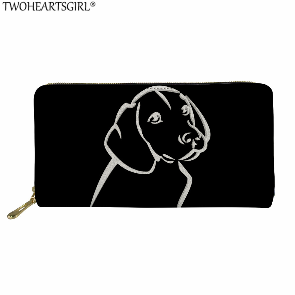 Twoheartsgirl Black Purse Women Long Wallets Cartoon Art Dog Printed High Quality Female Wallets Carteira Feminina Money Bag