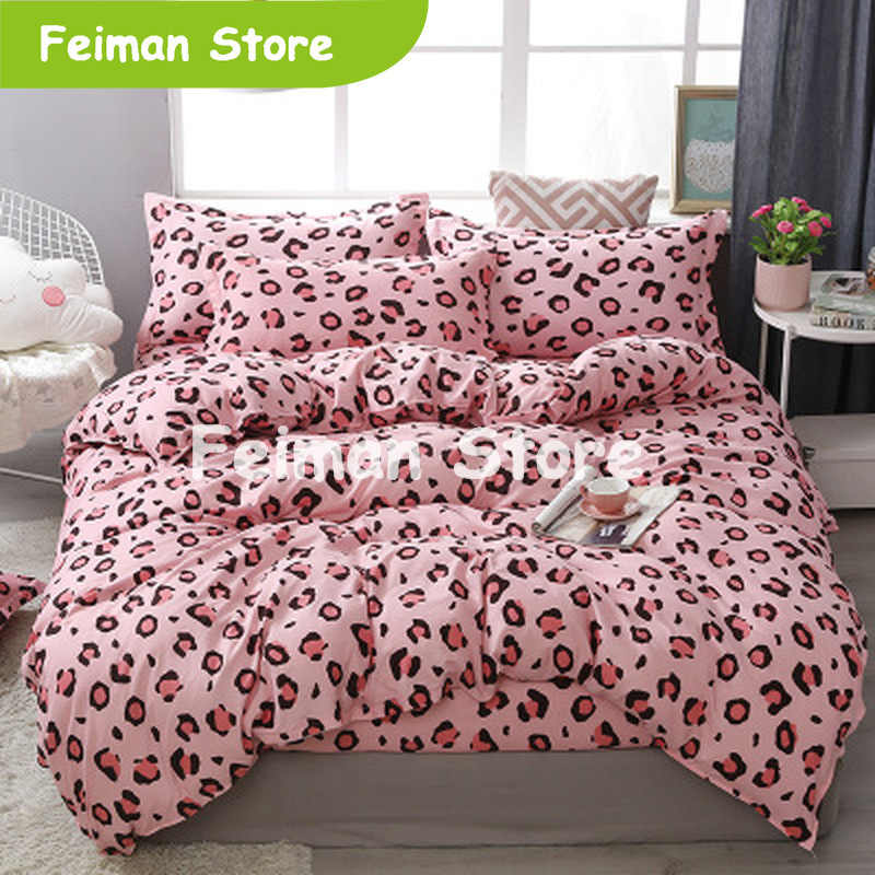 3/4pcs/Set Leopard Pink Comforter Bedding Sets Cotton Duvet Cover Set Pillowcase Bed Linen Linings Home Textile