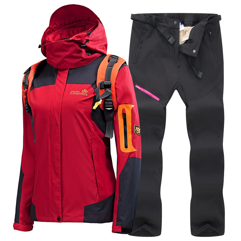 Women's Ski Suit High Quality Ski Jacket Pants Thicken Warm Waterproof Windproof Skiing and Snowboard Suits Women's Winter Suit