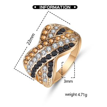 Ladies Ring Black White And Yellow Color Three Rows Zircon Geometric Cross Ring Fashion Banquet Engagement Ring 2