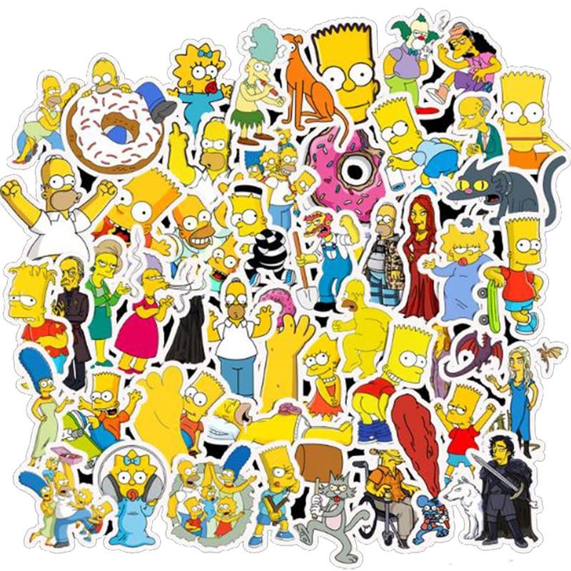 50pcs Cartoon Simpsons Waterproof PVC Children DIY Stickers Skateboard Guitar Suitcase Graffiti Sticker Kids Classic Toy