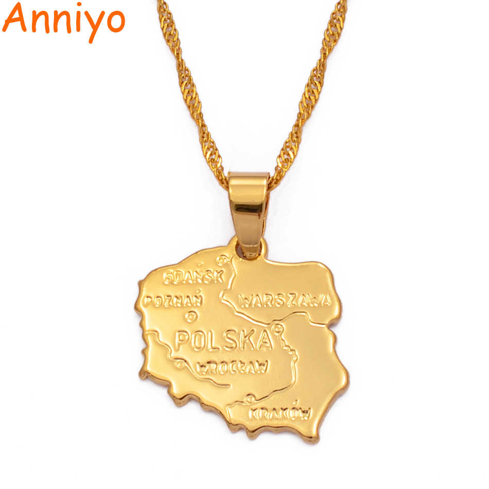 Anniyo map polska necklace pendants for women gold color jewelry map of poland  chain fashion #004010