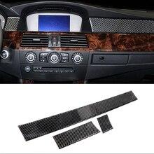 ل BMW E60 قديم 5 سلسلة 2005-2010 اكسسوارات 3 قطعة ألياف الكربون سيارة الداخلية لوحة زخارف اللوحات ملصقات الشريط غطاء