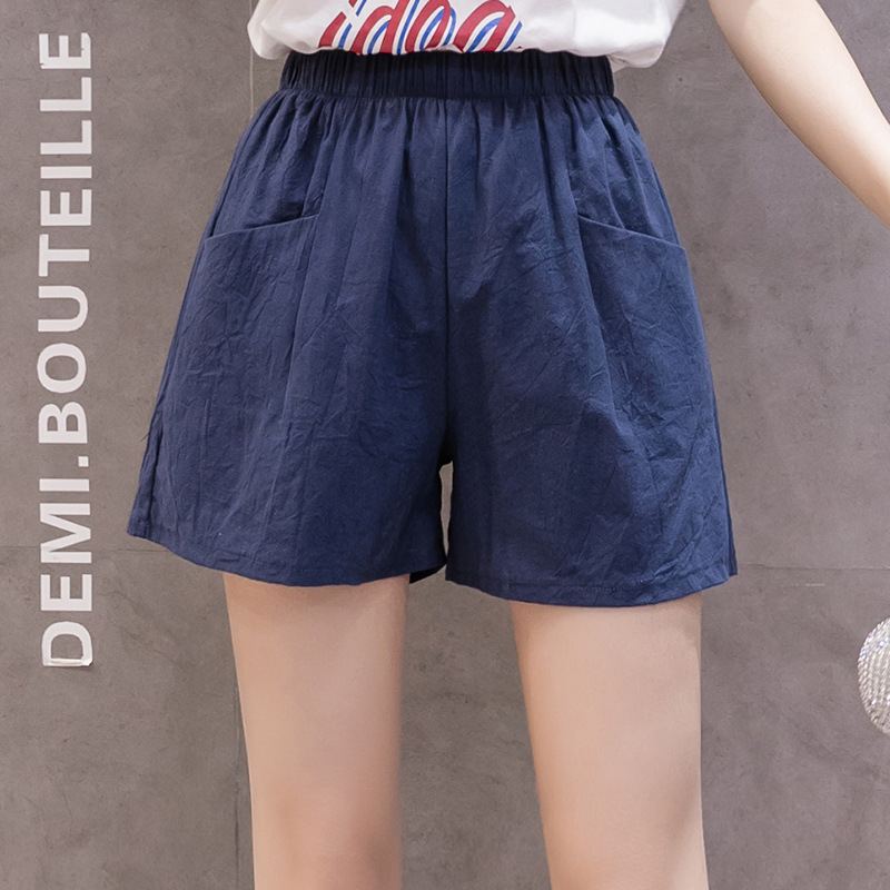Shorts Women High Waist Summer Linen Loose Loose Thin Three-point Hot Pants Xia Large Size Casual Thin Wide-leg Pants  Red