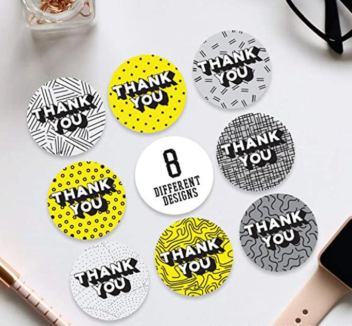 Yellow&Grey Round Thank You Stickers Seal Label 1 Inch 500pcs Party Decorative Stickers Paper Adhesive Stationery Sticker