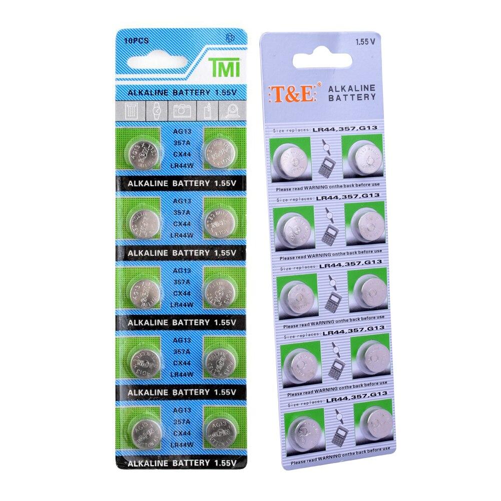 10 pièces pièce de monnaie ag13 montres batterie 357a cx44 lr44W bouton piles alcalines 1.55v pour caméras cholestérol tests mètres