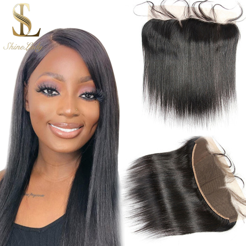 Shinelady Pre-plured Raw Virgin Hair Lace Frontal Closure With Baby Hair Free Parting Brazilian Virgin Hair Straight Frontal image
