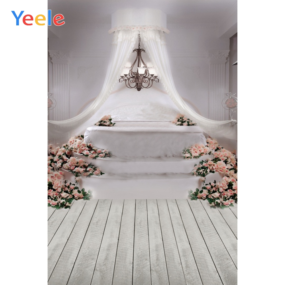 Yeele Grunge Wooden Floor Flowers Curtain Chandelier Photography Backgrounds Custom Photographic Backdrop For Photo Studio Props