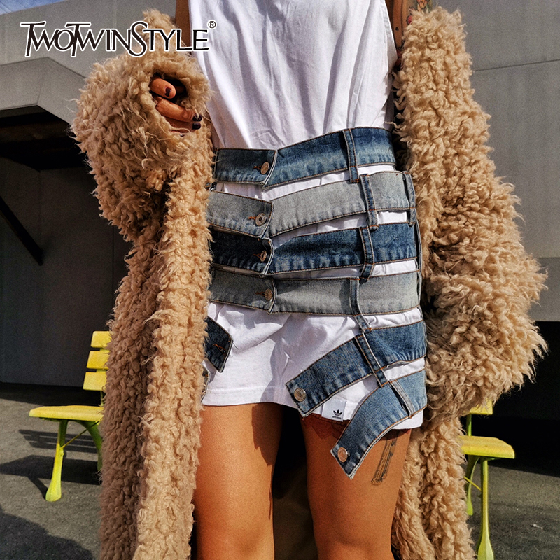 TWOTWINSTYLE Patchwork Hit Color Sexy Skirt Women High Waist Asymmetric Large Size Mini Female Skirts Clothes 2020 Fashion Tide