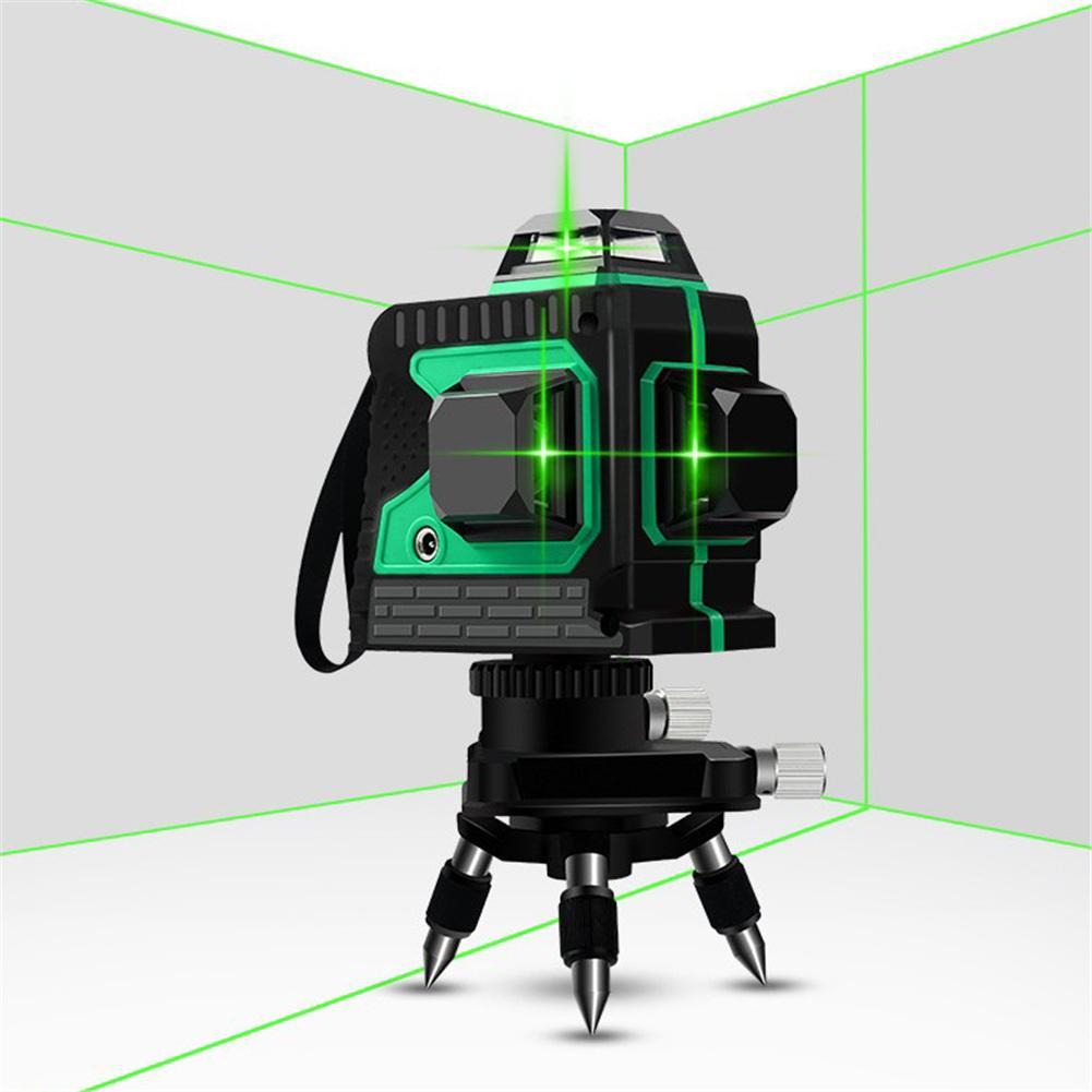 3D 12 linii zielony laser poziom samopoziomujący 360 poziome i pionowe krzyż Super mocny zielony laser wiązka laserowa
