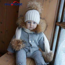 2019 autumn and winter childrens hat scarf warm comfortable ski mask cap boy girl raccoon fur pompom