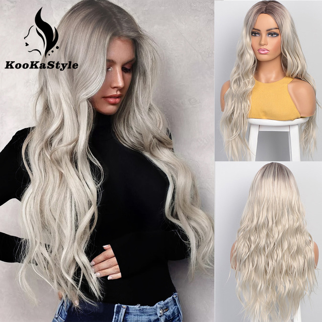 KooKaStyle Synthetic Wigs Long Wavy Wigs for Women Natural Part Side Wig Heat Resistant Party Hair Ombre Blonde Wigs Brizilan 1