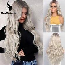 Parrucche sintetiche KooKaStyle parrucche ondulate lunghe per donna parrucca laterale parte naturale capelli resistenti al calore parrucche bionde Ombre Brizilan