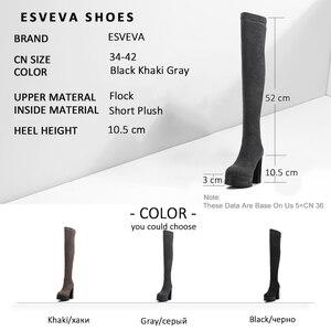 Image 5 - Esveva 2020 Nữ Giày Nữ Sang Trọng Ngắn Trơn Trượt Trên Đầu Gối Giày Nền Tảng Giày Dành Cho Người Phụ Nữ Mũi Tròn Vuông Cao Cấp giày Cao Gót Size 34 42