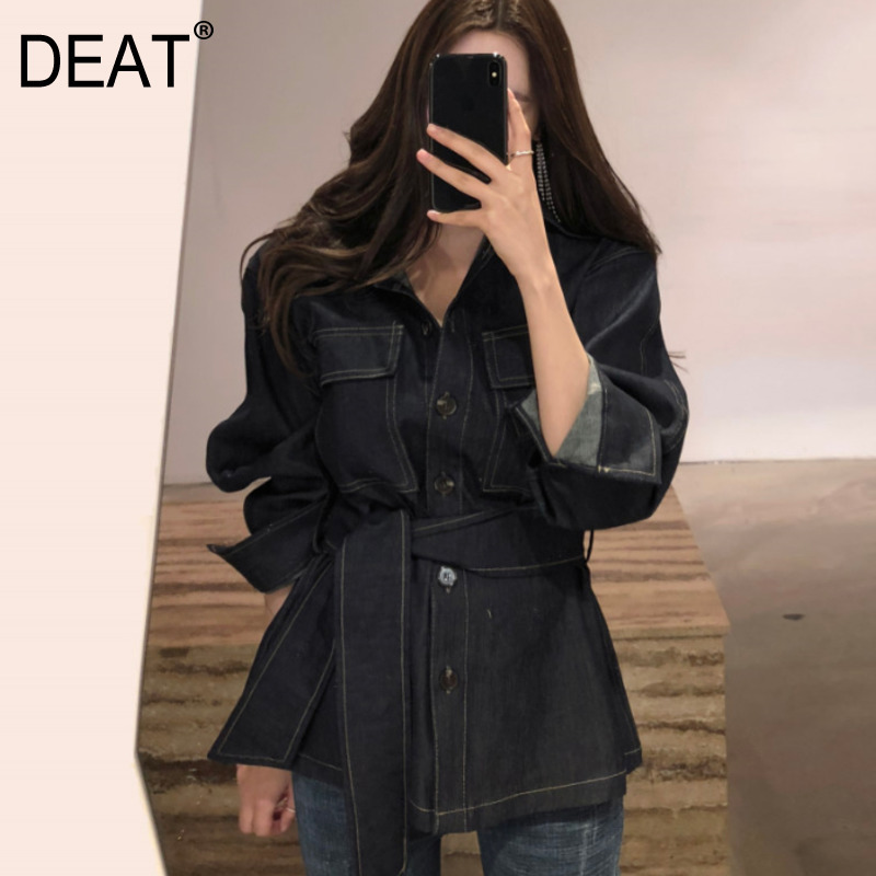 DEAT 2019 New Spring Fashion Turn down Collar High Waist Denim Vintage Jacker Single Breasted Jacket