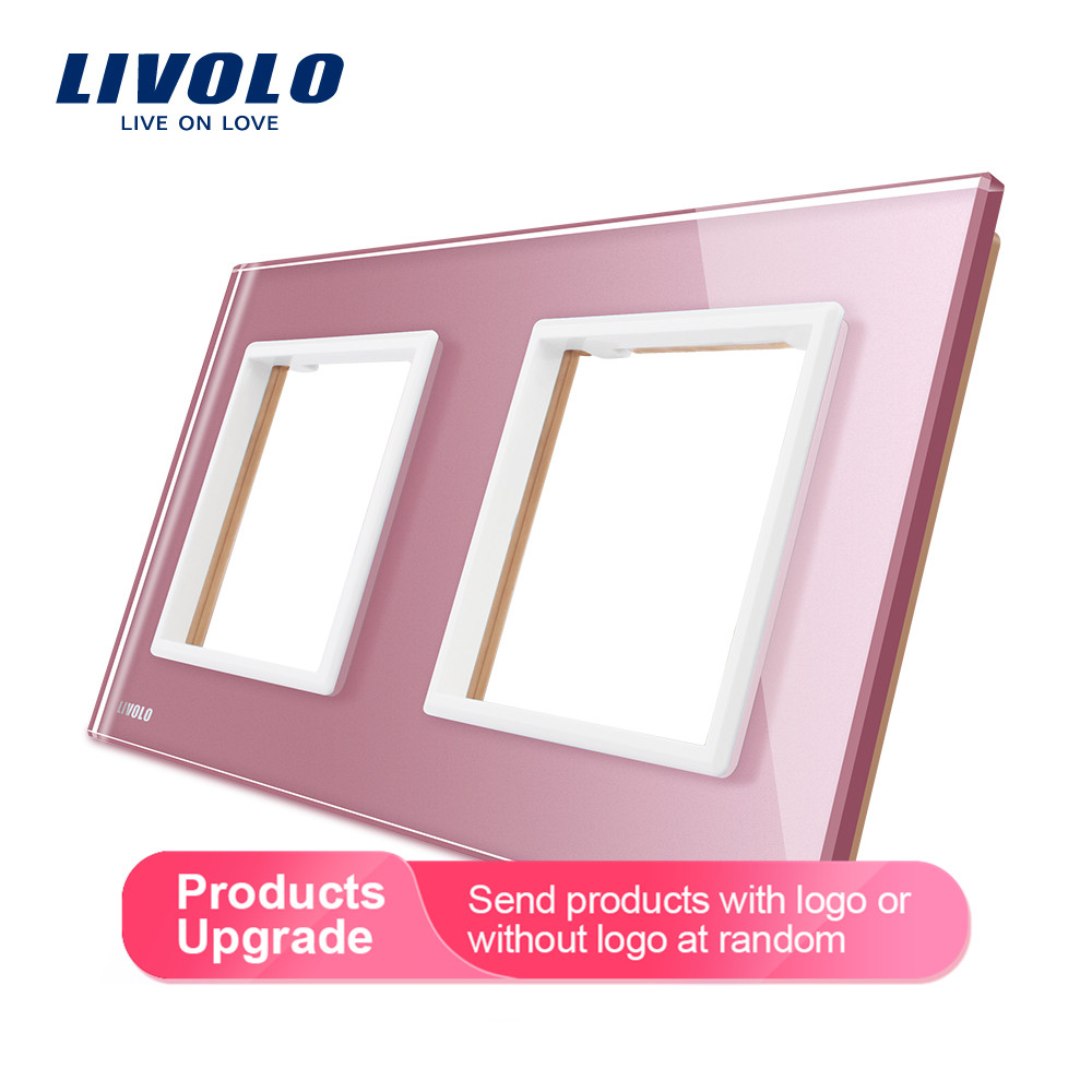 Livolo Luxury 3 Colors Pearl Crystal Glass, EU Standard, Double Glass Panel For Wall Socket, C7-2SR-17/18/19  (3 Colors)