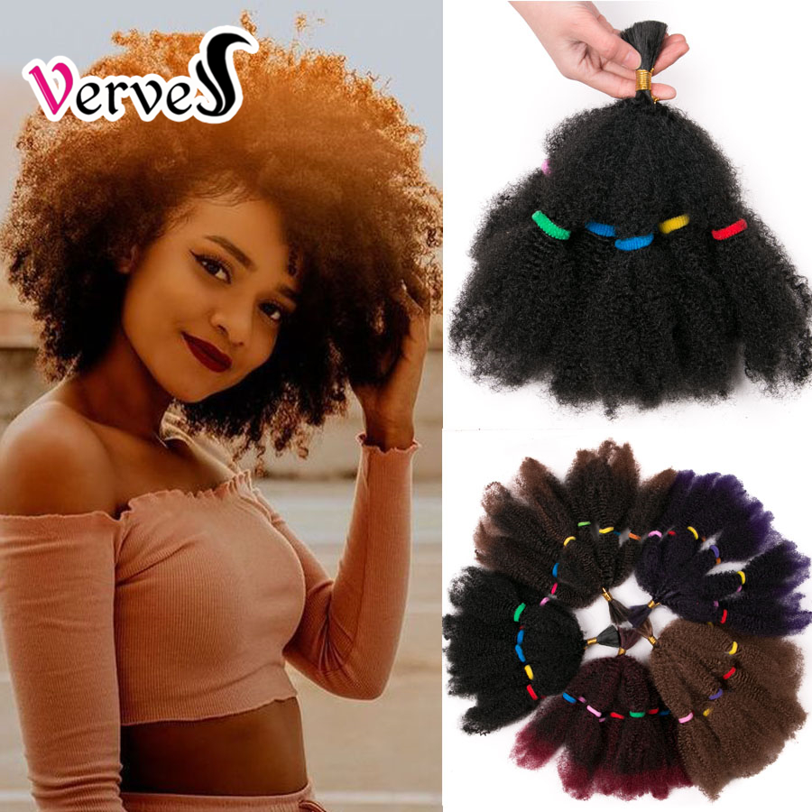 VERVES Culry Crochet Braids Hair Extensions 12 Inch,Synthetic Ombre Braiding Hair Afro Kinky Bulk Twist Braids Black,brown,bug