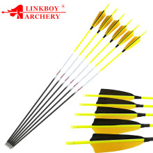 12pcs Linkboy Archery Carbon Arrows 30'' Spine 600 700 800 1000 ID4.2mm 4inch Turkey Feather 80gr Points Recurve LongBow Hunting