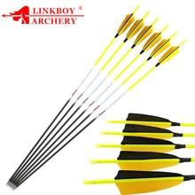 12pcs Linkboy Archery Carbon Arrows 30'' Spine 600 700 800 1000 ID4.2mm 4inch Turkey Feather 80gr Points Recurve LongBow Hunting
