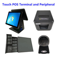 Touch POS System 15 Dural Screen Cash Register & Cash Drawer & 80mm Thermal Receipt Printer Auto Cutter & Barcode Scanner