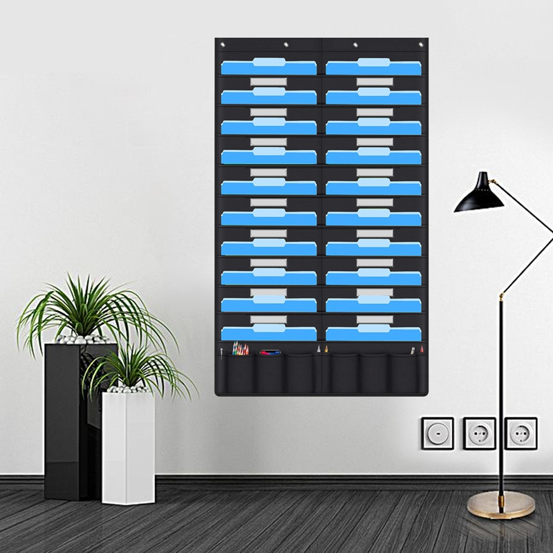 20 Pocket Door Hanging File Organizer With Name Tag,Black Wall Storage Pocket Charts With 4 Hangers,Great For Classroom,School,H
