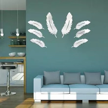 New Creative Diy 8 feathers Decor Wall Stickers Room Bedroom living Wall decor Mirror Stickers Home Decor Modern(China)