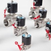 """Elettrovalvola elettrica in acciaio inossidabile 1/4 """"3/8"""" 1/2 """"3/4"""" 1 """"normalmente chiusa pneumatica per acqua olio aria gas 12V/24V/220V/110V"""