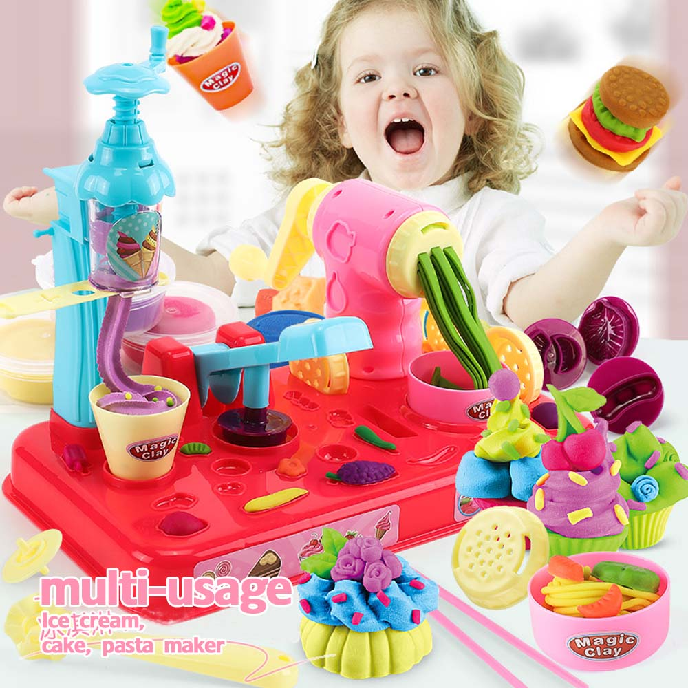NEW Playdough DIY Clay Dough Plasticine Ice Cream Machine Mould Play Kit DIY Toy Handmade Noodle Maker Kitchen Toy Kids Gift