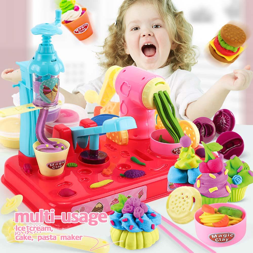NEW Playdough DIY Clay Dough Plasticine Ice Cream Machine Mould Play Kit DIY Toy Handmade Noodle Maker Kitchen Toy Kids Gift
