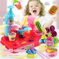 Novo playdough diy massa de argila plasticina máquina de sorvete molde jogo kit diy brinquedo artesanal fabricante macarrão cozinha brinquedo crianças presente