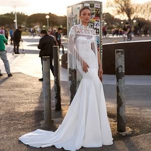 Image 1 - BAZIIINGAAA יוקרה חתונה שמלת ציצית אפליקצית גולף שרוולים בת ים סאטן כלה תמיכה תפור