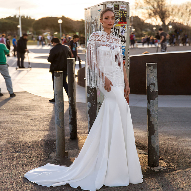 BAZIIINGAAA יוקרה חתונה שמלת ציצית אפליקצית גולף שרוולים בת ים סאטן כלה תמיכה תפור