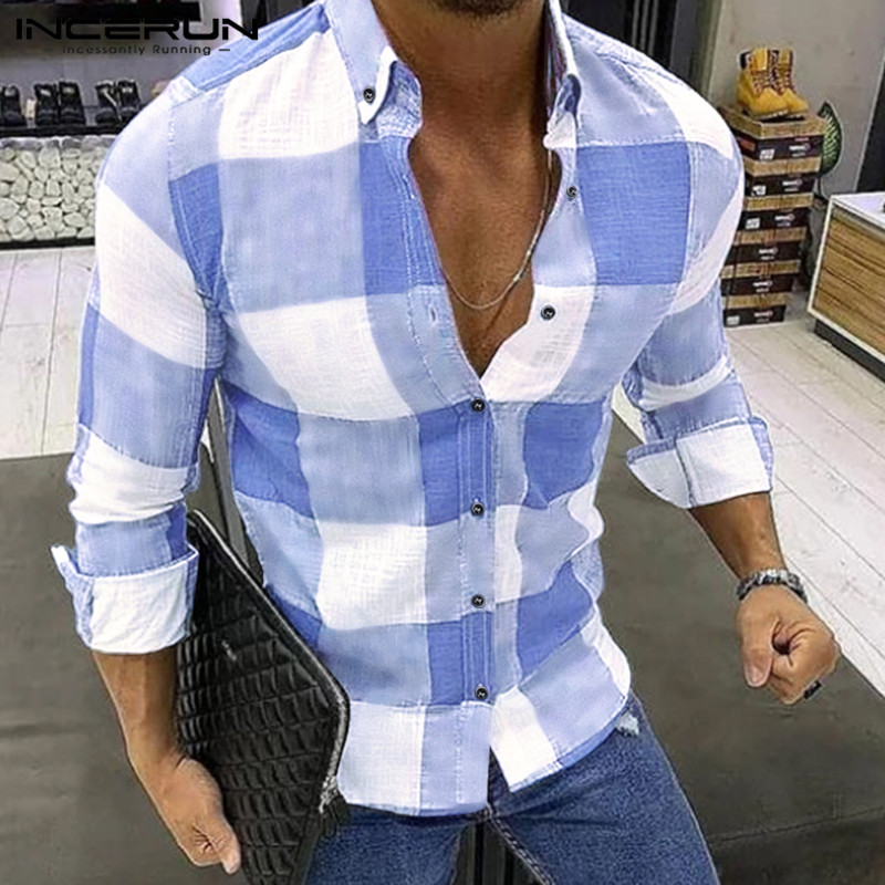 INCERUN Fashion Plaid Men Shirt Casual Long Sleeve Lapel Blouse Fitness Chic Brand Streetwear Shirts Men Camisa Masculina S-5XL