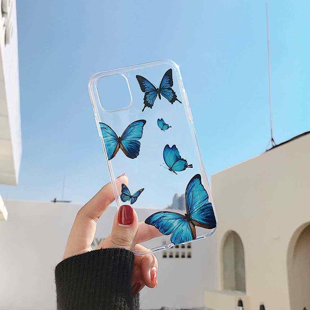 เคสโทรศัพท์สำหรับ iPhone 6 6 S 7 8 PLUS 11 PRO MAX สำหรับ iPhone X XS MAX XR น่ารักผีเสื้อรูปแบบนุ่ม TPU กรณี