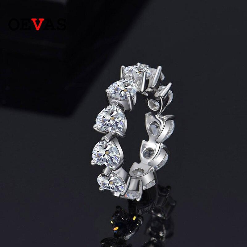 OEVAS 100% 925 Sterling Silver 5MM Heart Cut Created Moissanite Gemstone Diamonds Wedding Engagement Ring Fine Jewelry Wholesale