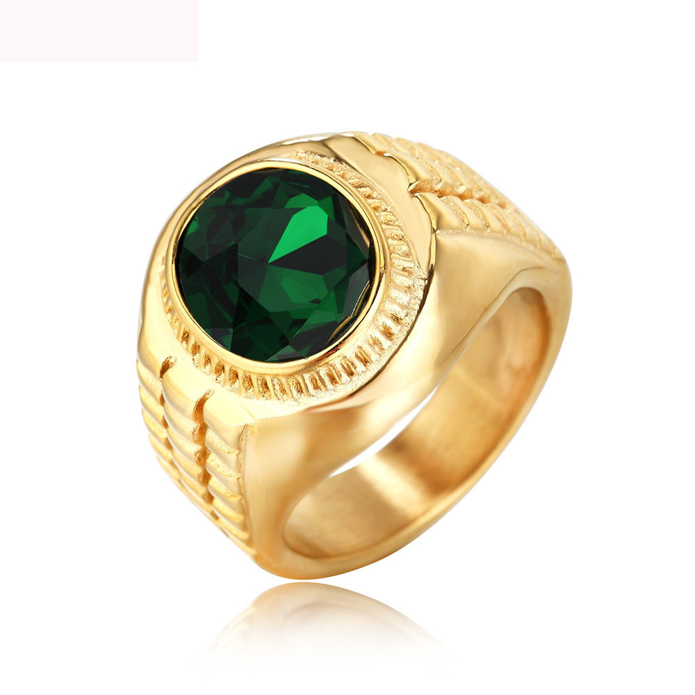Luxury Gold Color Rings Titanium Steel Jewelry With Crystal For Men And Women Anniversary Party Gifts