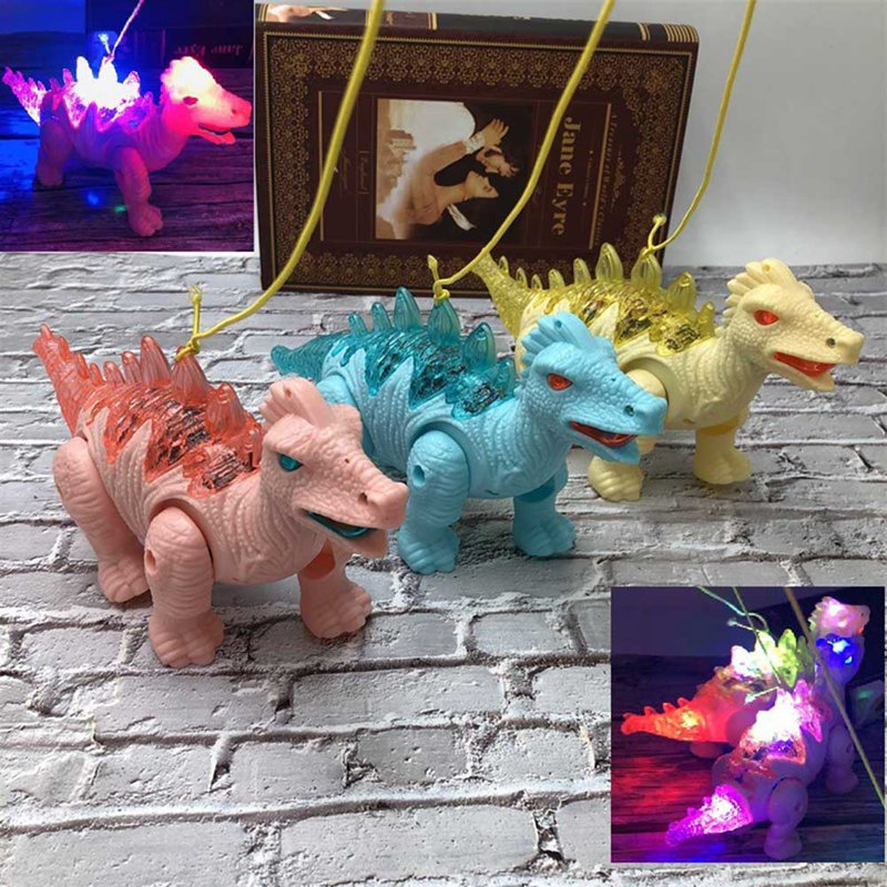 Electric Walking Light Vocal Leash Dinosaur Electronic Robot With Light Sound For Kids Baby Toys Christmas Gift Color Random