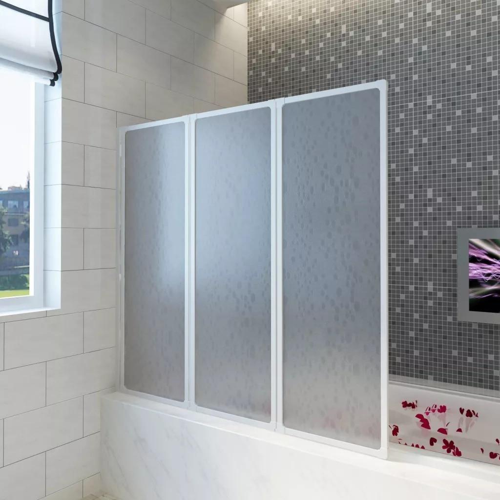 VidaXL 141 X 132 Cm Shower Bath Screen Wall 3 Panels Foldable With Towel Rack Stable Aluminum Frame Bath Screen For Bathroom