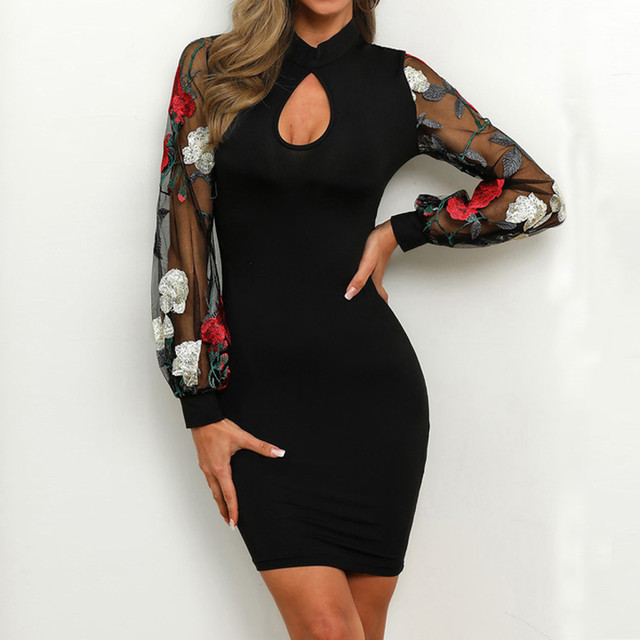 Sheer Wrap Work Dress Women Vestidos Sexy Long Sleeve Stripe Mesh Patchwork Bodycon Dress Black Tunic Clothing For Work 1